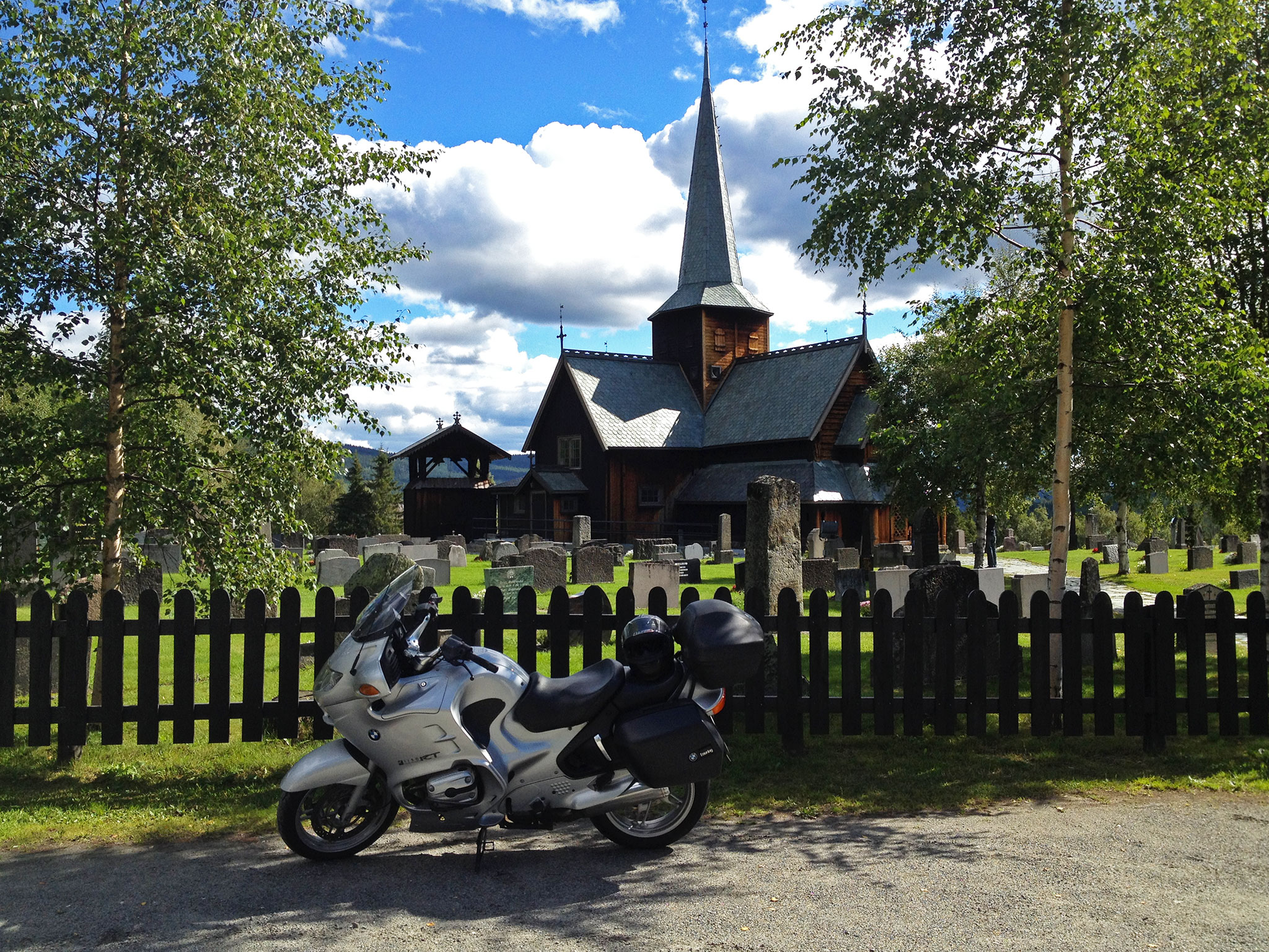 Late August trip, here parked in front of Hedalen Stave Church