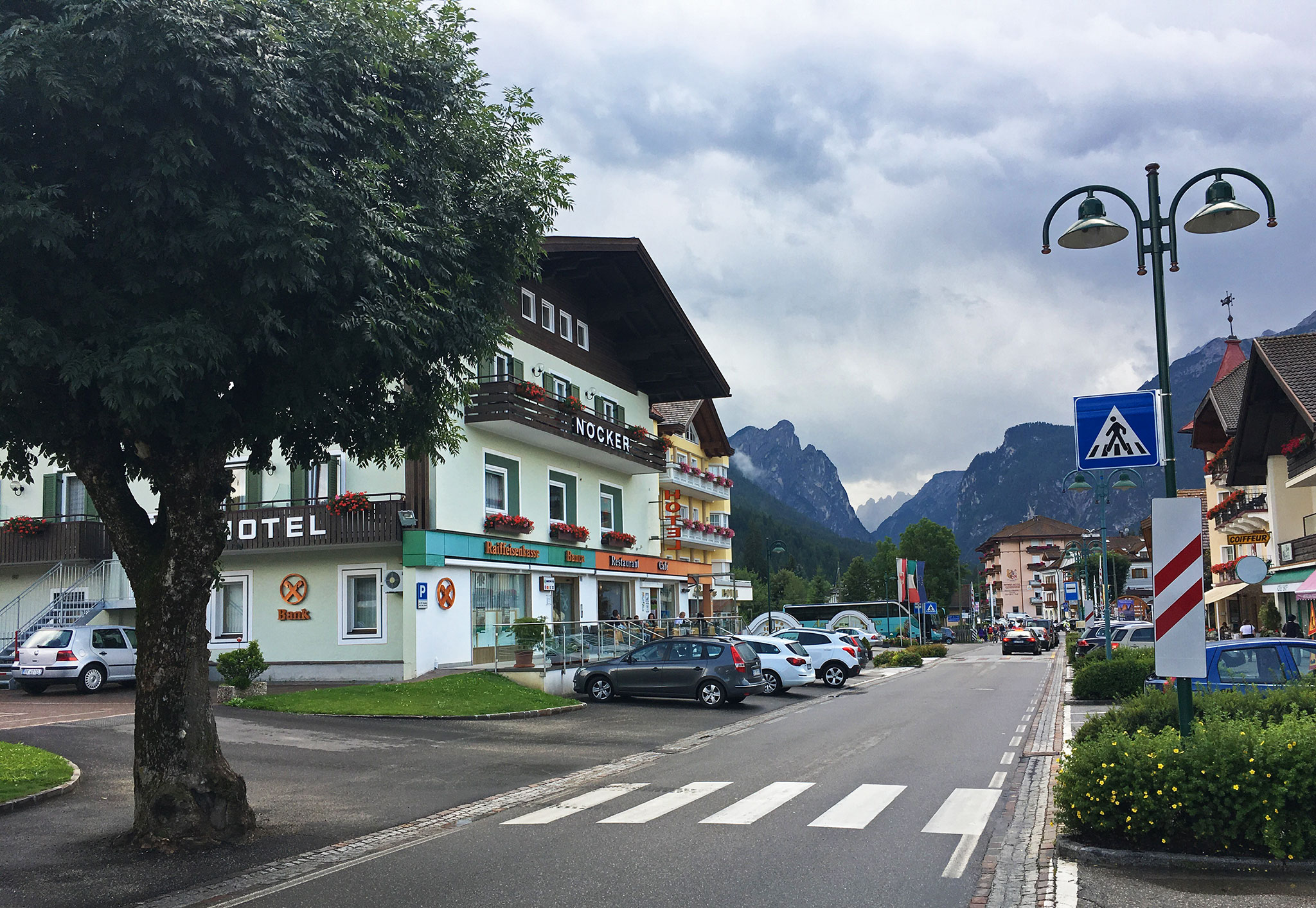 In Italy, Street view in Toblach (Dobbiaco) looking south in direction of Cortina d'Amprezzo and Dolomites