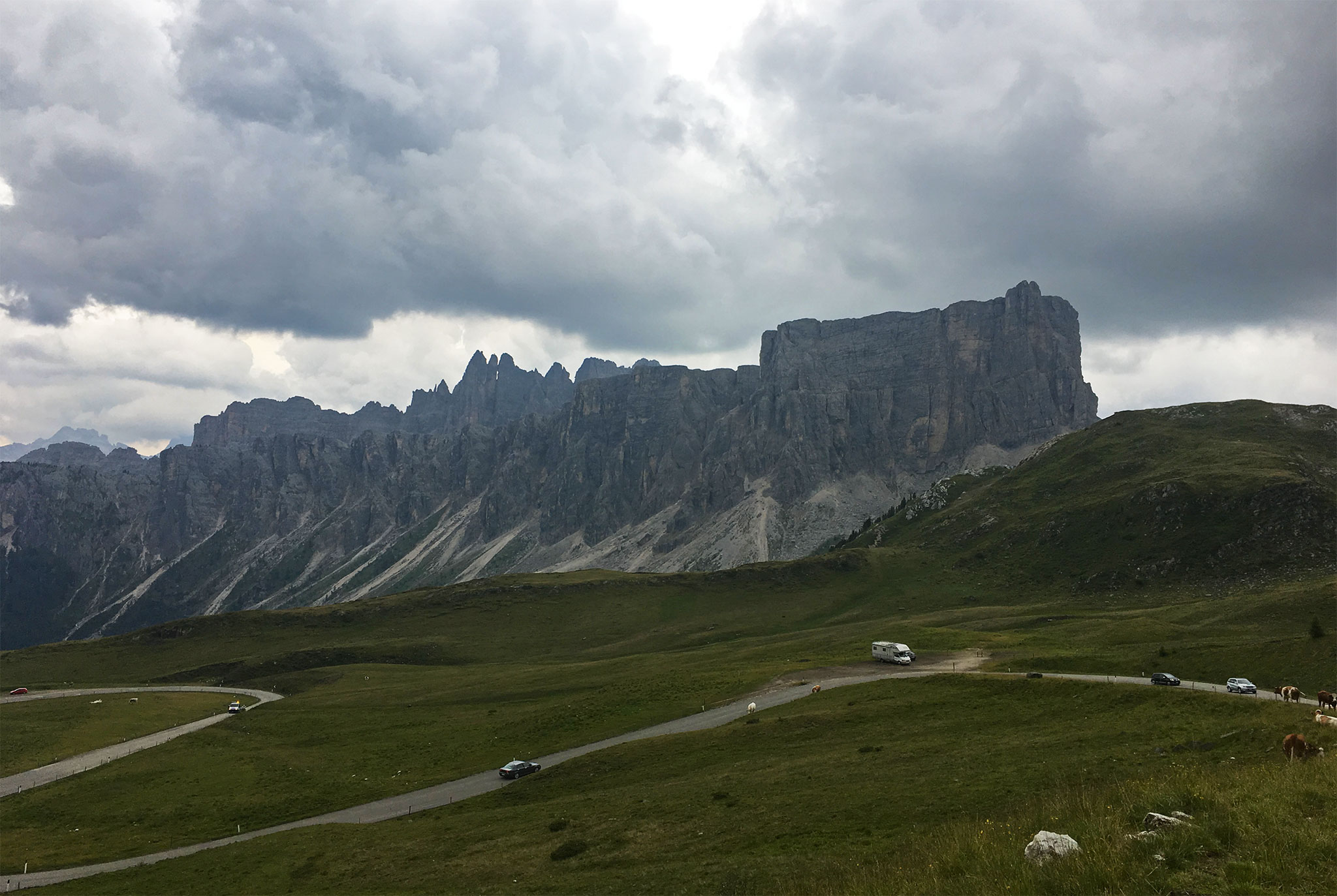 View up from towards Passo Falzarego