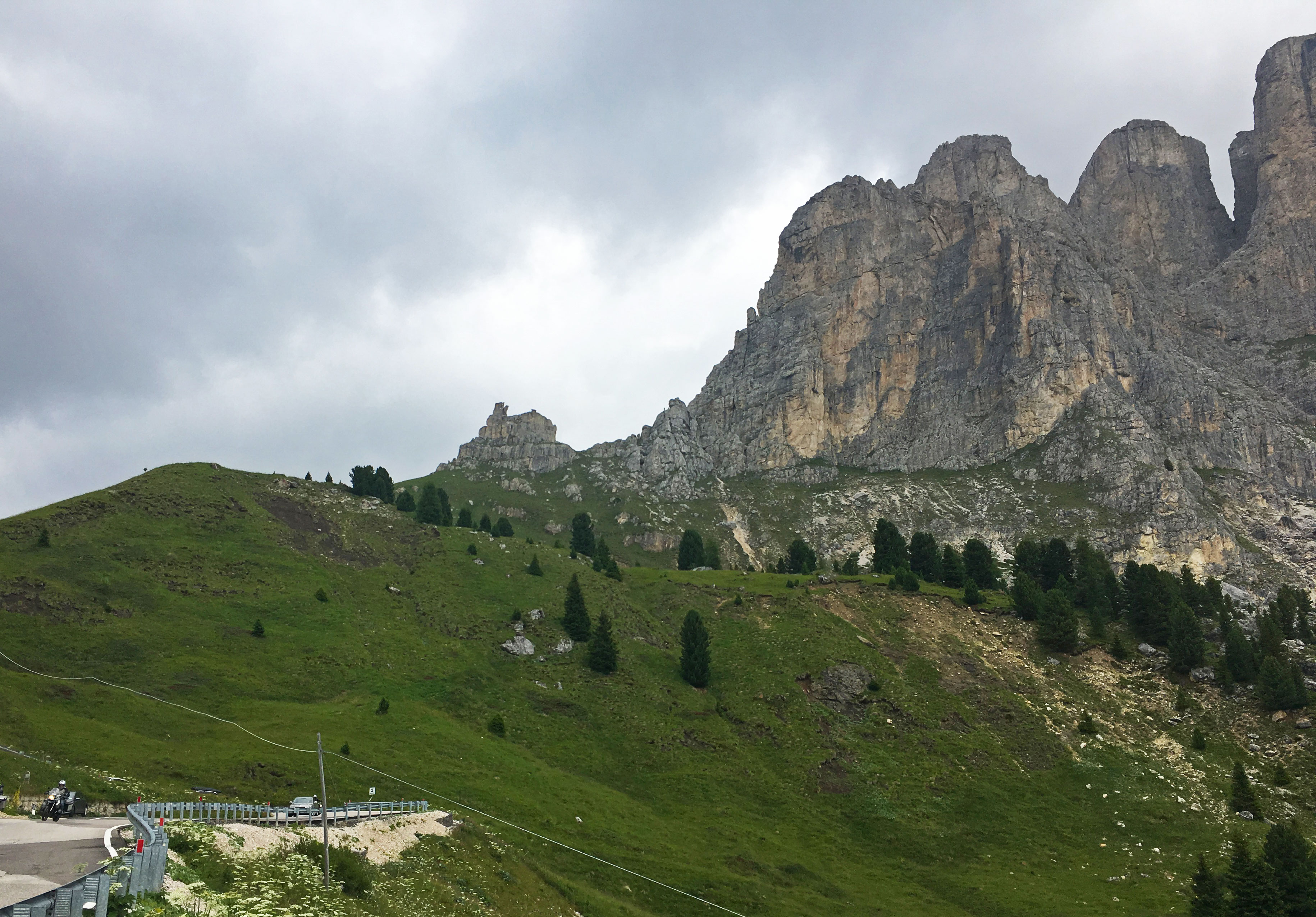 Sella Towers while on the way up towards Sellla Pass