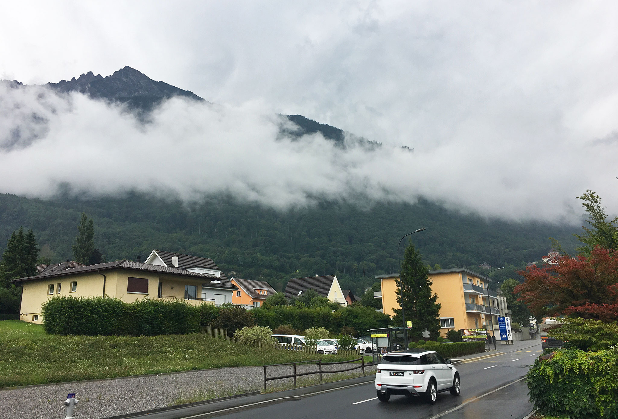 Right behind those houses. Liechtenstein and Vaduz ends