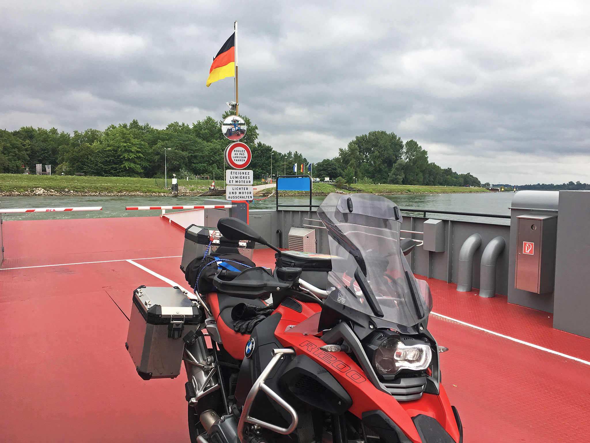 On the ferry between Germany & France, Germany in the rear