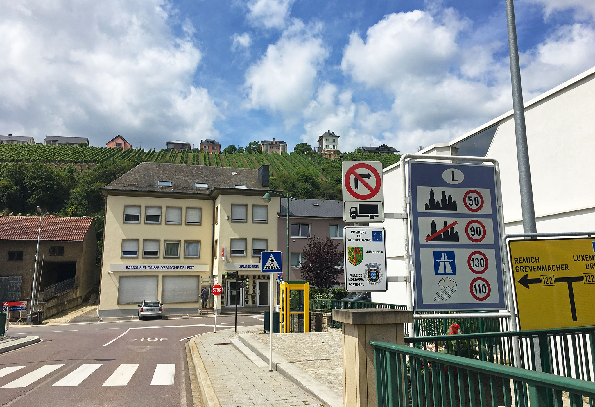 At the border, Luxembourg on the other side