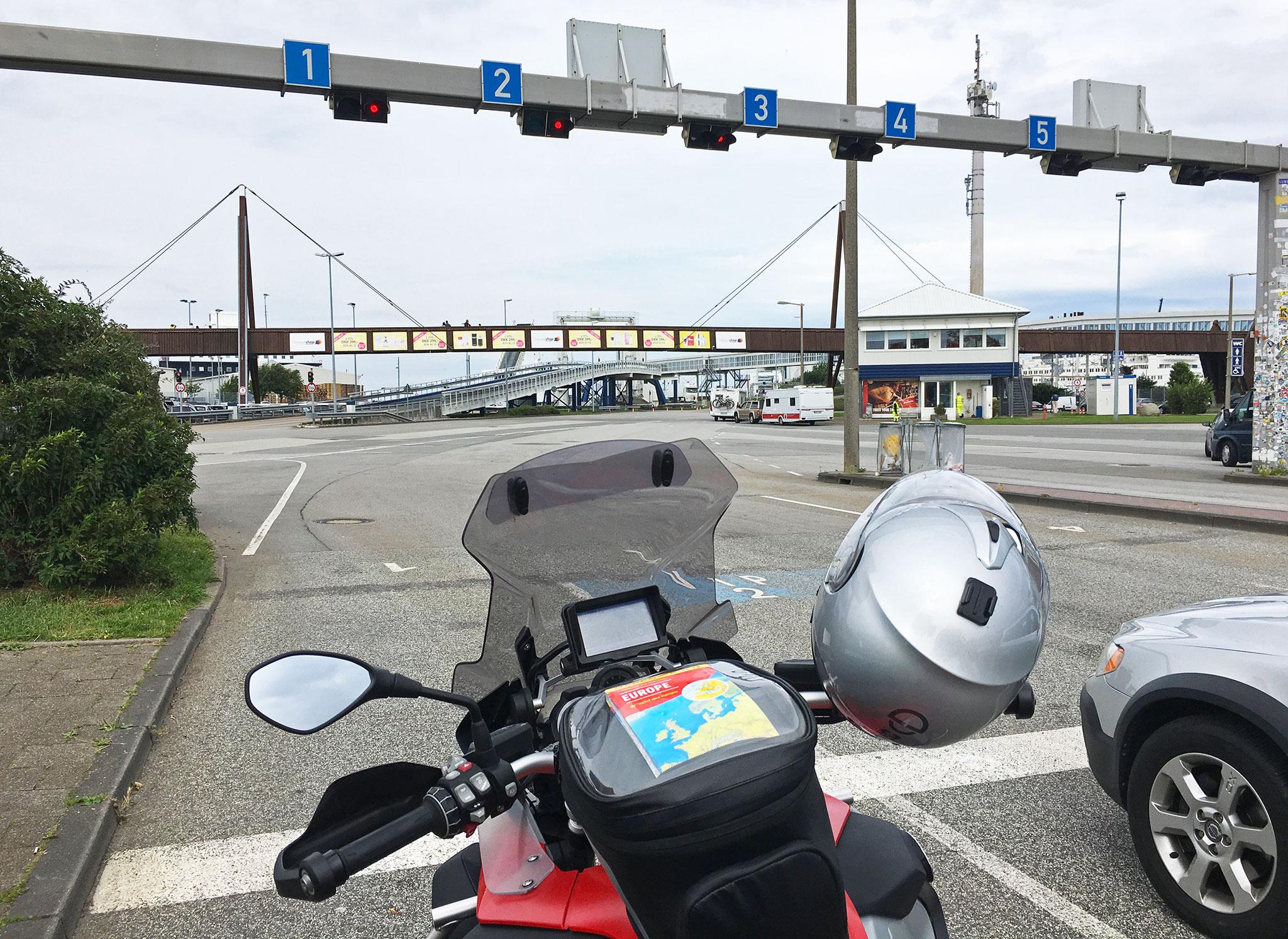 Waiting at Puttgarten Fehman heading north, the only motorbike rider on that trip