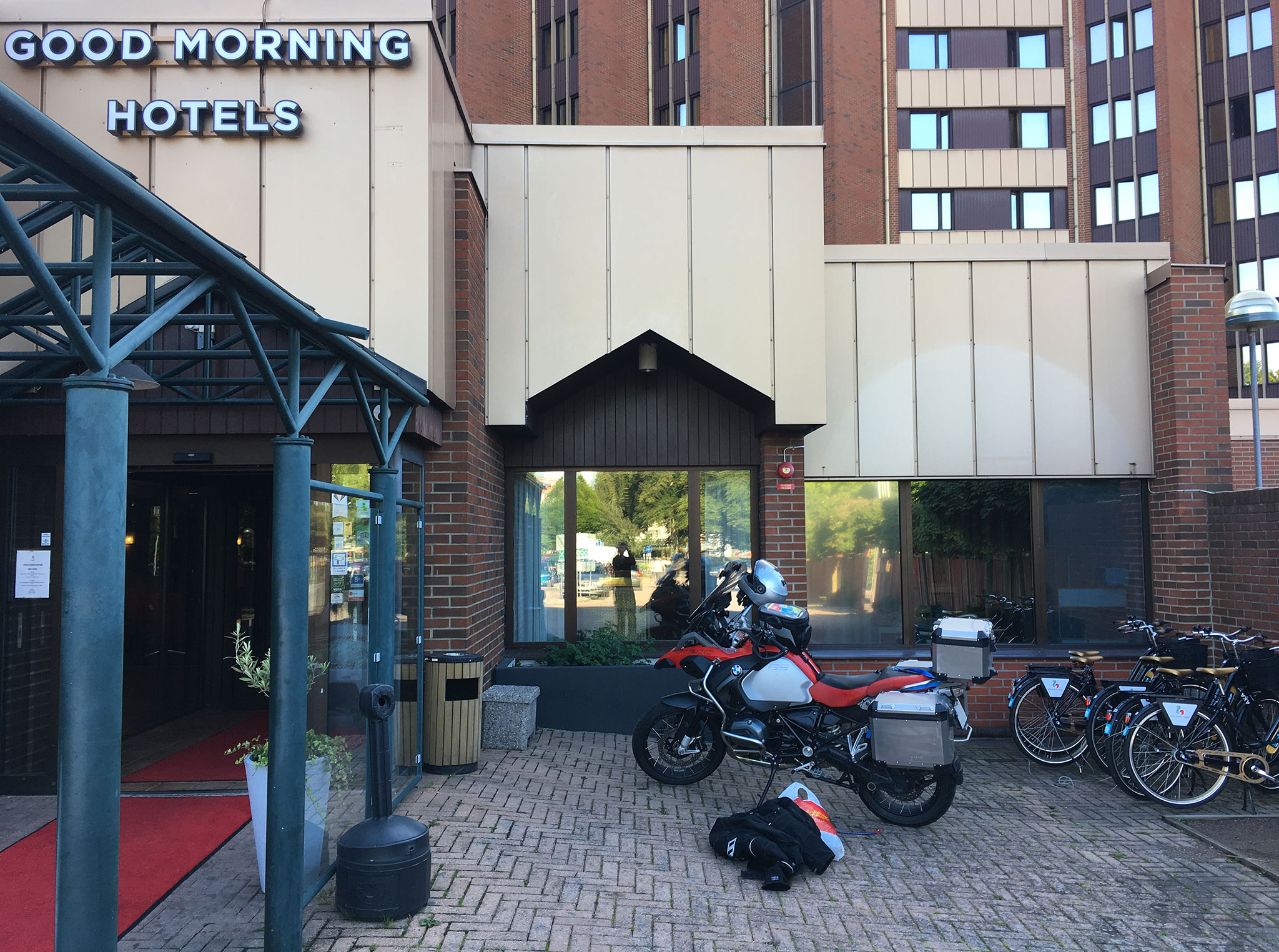 Parking  a motorcycle next to the entrance/lobby wasn't safe enough