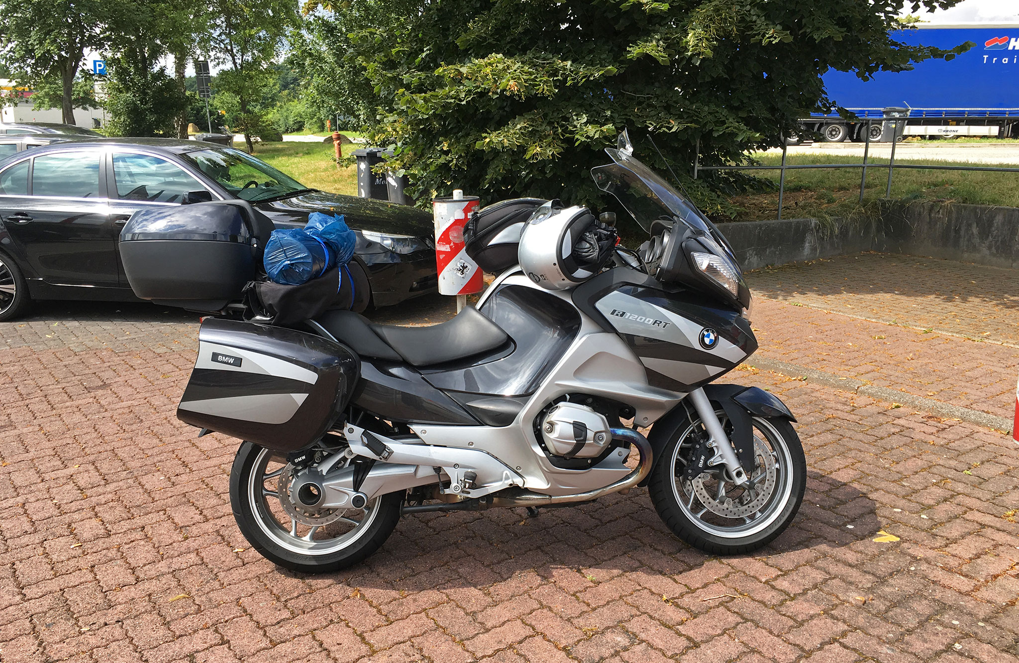 BMW R1200RT along the Autobahn in Germany