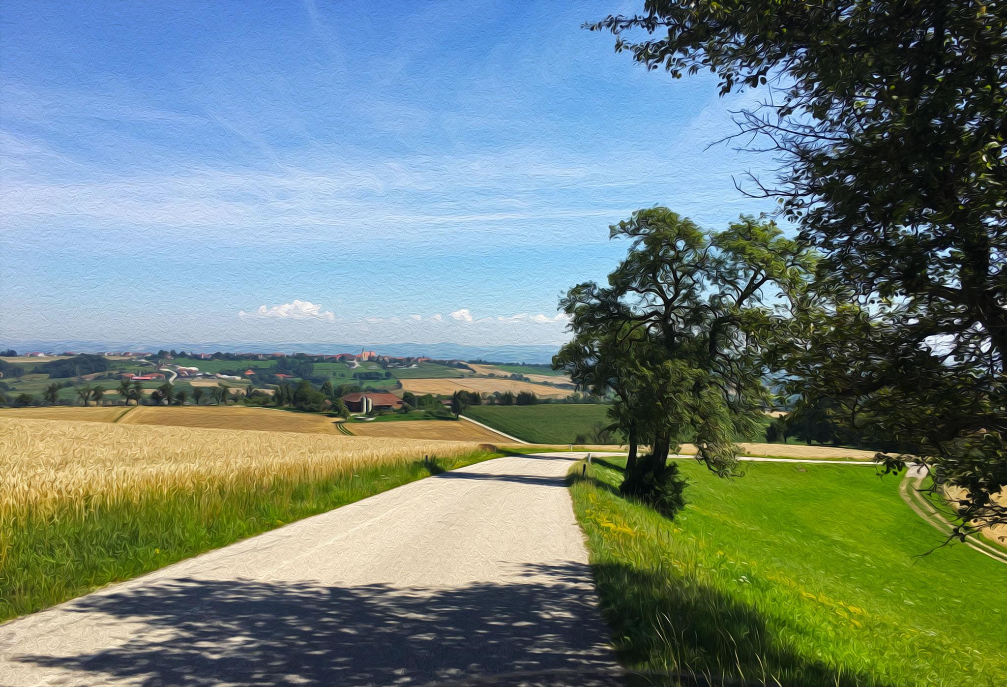 Rolling hills and farmlands in Oberramsau – Austria