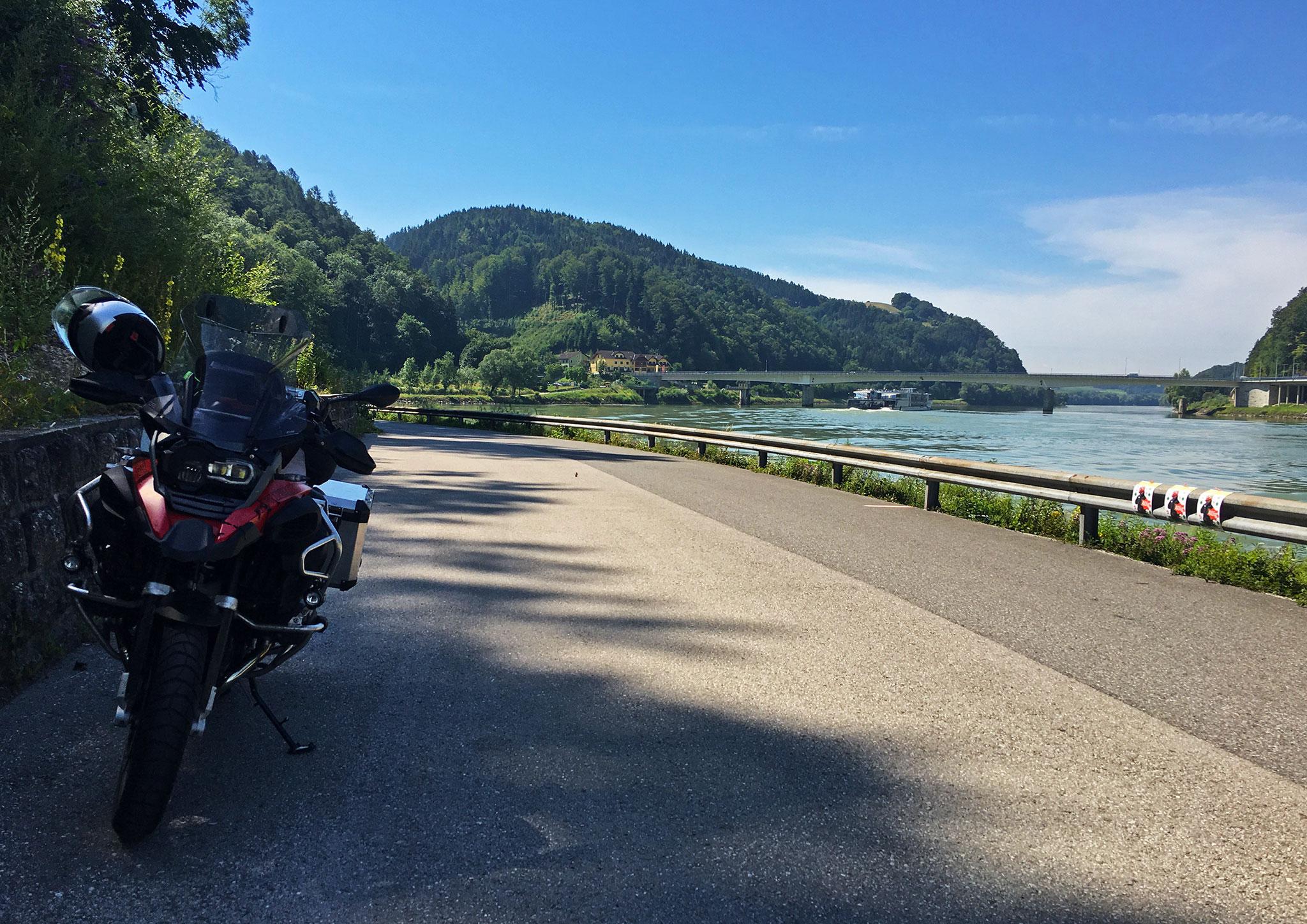 By the Danube river, dividing Upper & Lower Austrua