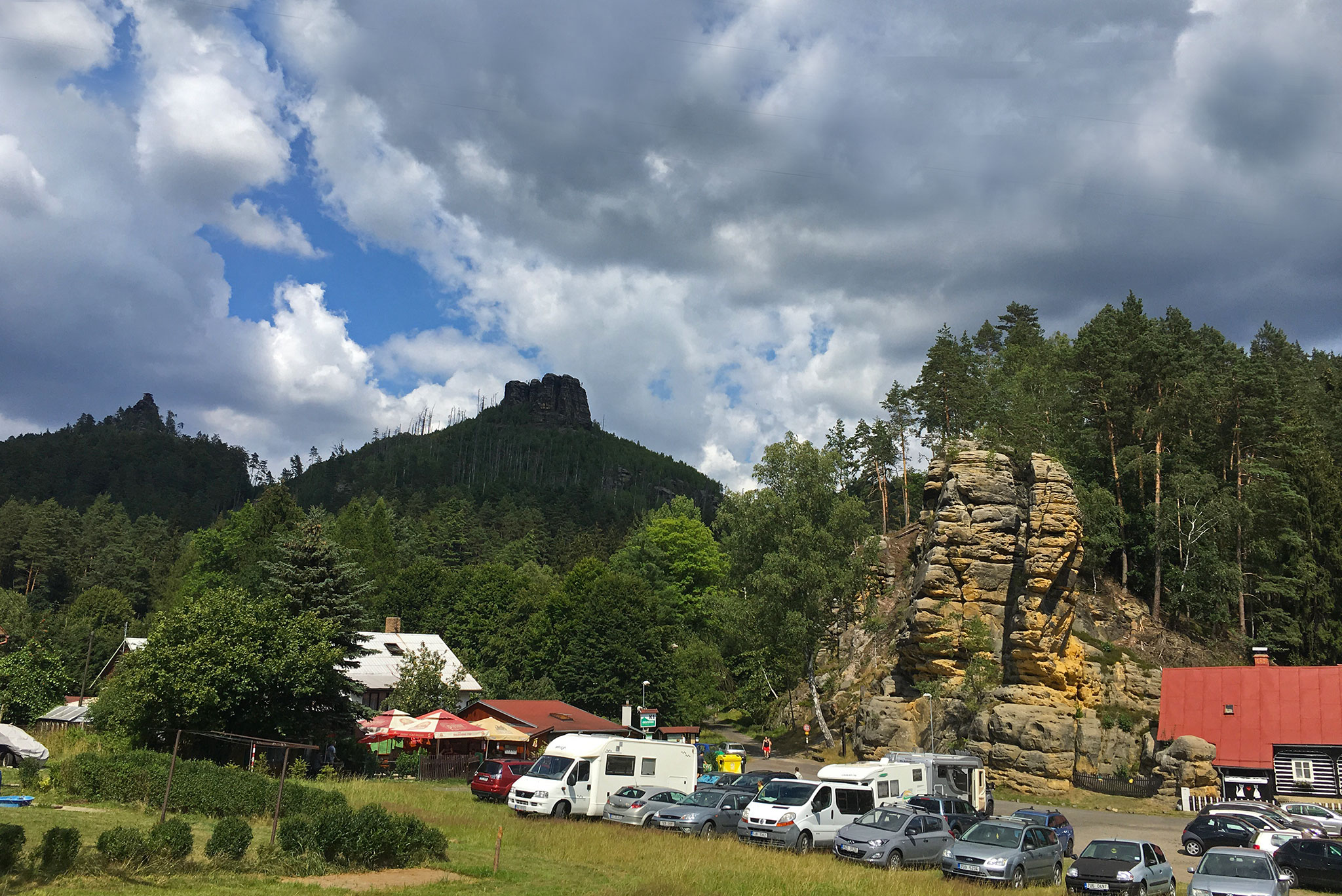 Packed with people and cars in the Bohemian Switzerland National Park