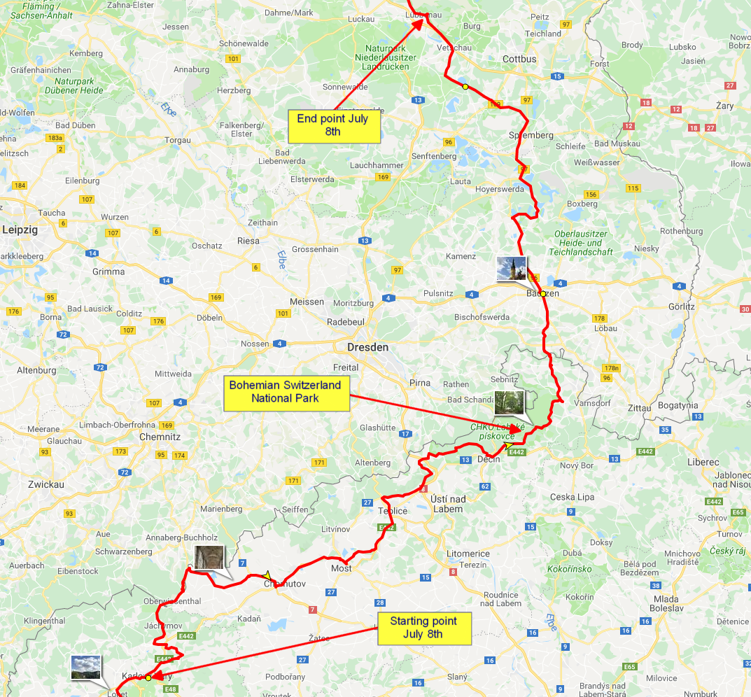 The route from Karlovy Vary to Spreewald in Germany