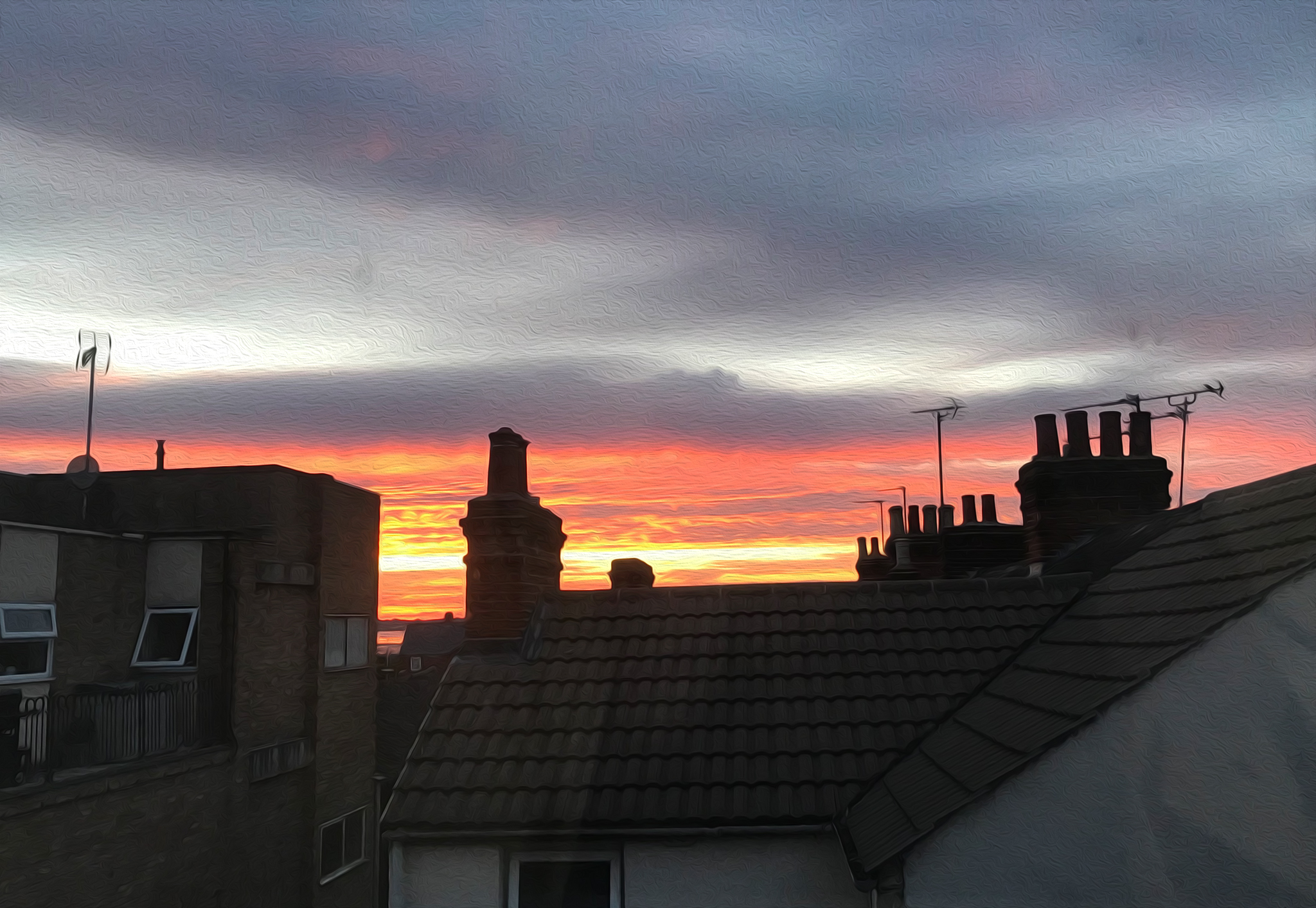 Sunset over the rooftops in Harwich