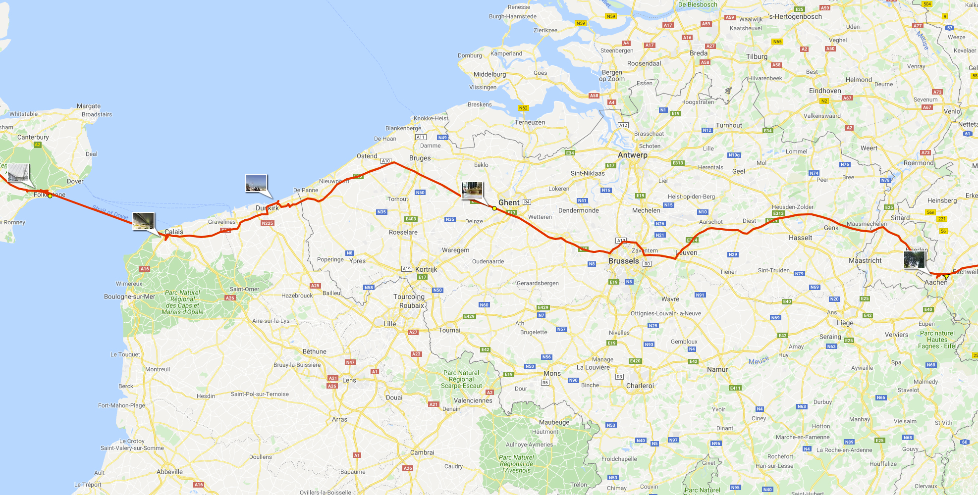 Going east: From Folkestone to Aachen