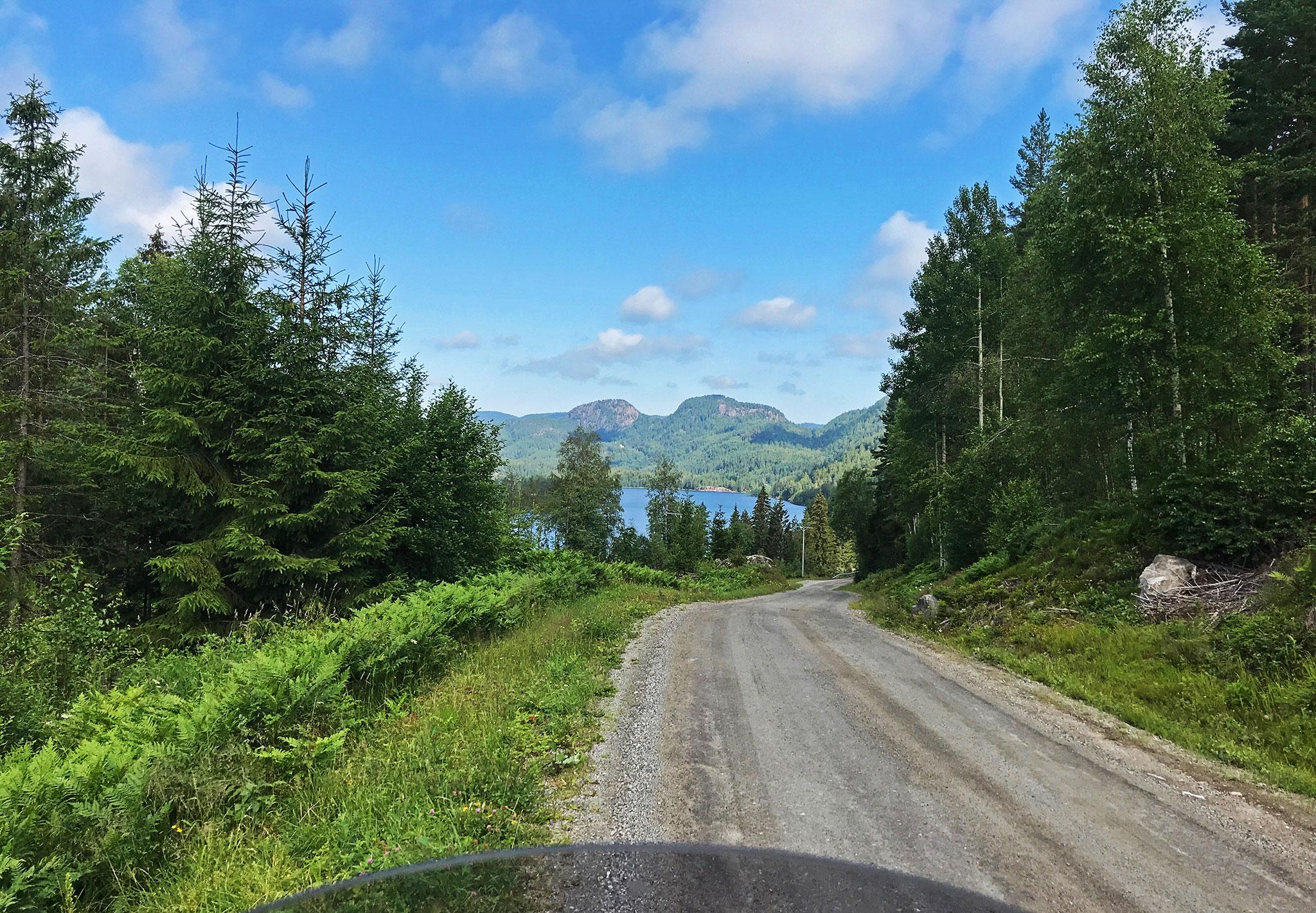 Through woods in Telemark on gravel roads