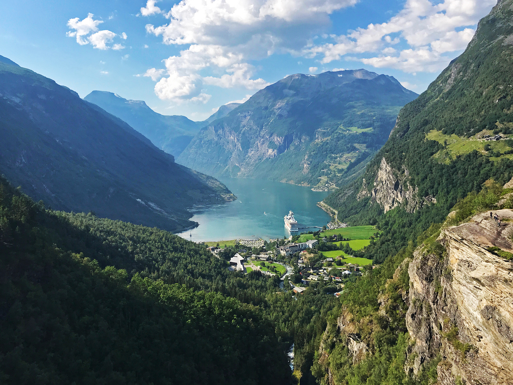 Geiranger and Geirangerfjord from the south side