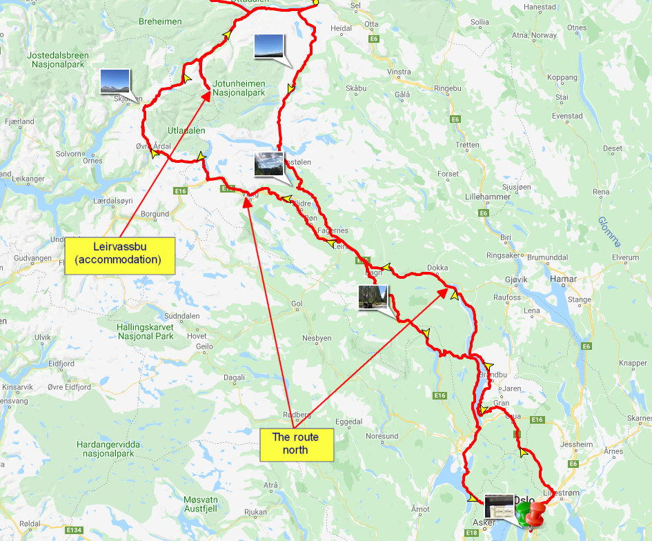 The route day 1, from Oslo to Leirvassbu, Jotunheimen national park