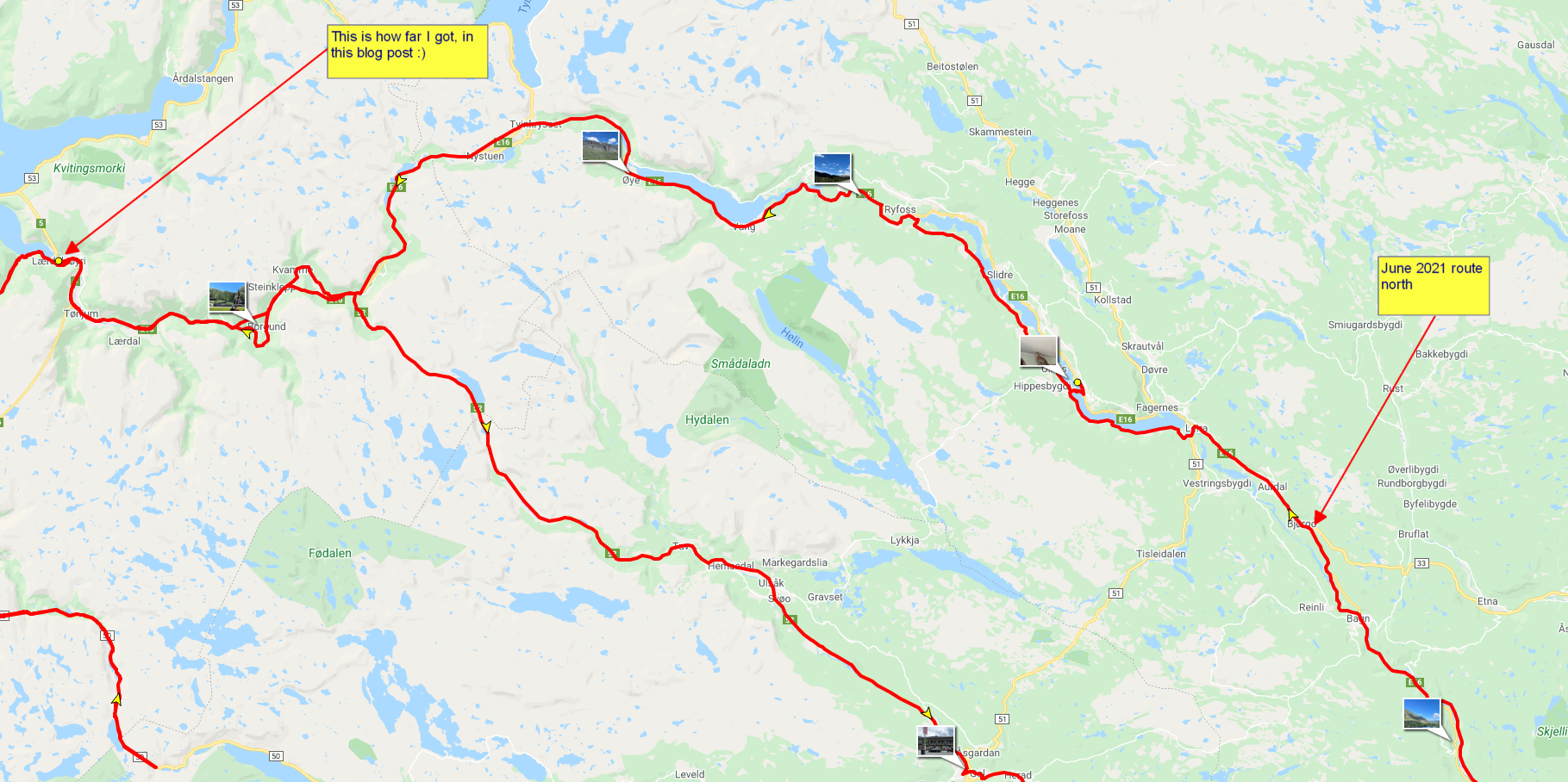 Route through Valdres to Lærdalsøyri