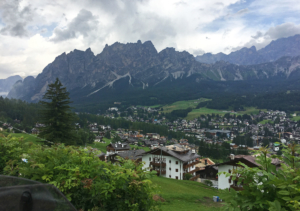 Cortina d'Ampezzo seen from the road SR48, which leads to, among others, Passo Falzarego