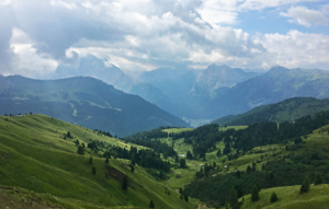 View from Sella down to the valleys below