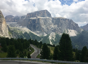 The road up to Passo di Sella from this side offered different scenes and different road experiences