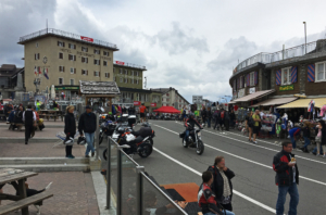 Stelvio or Stilfserjoch; a busy touristy place in July.