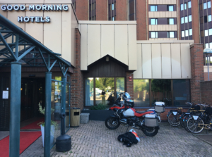 Good morning hotel Helsingborgm you'd think parking your motorcycle next to the entrance would be safe