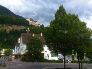 Up there in the hill surrounding Vaduz sits the castle of the Prince of Liechtenstein
