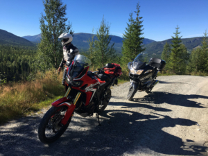 Two motorcycles on gravel