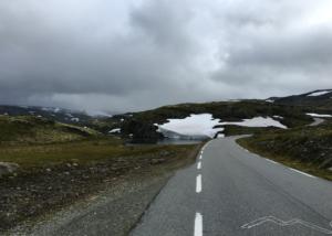 Along Aurlandsvegen Mountain road with snow
